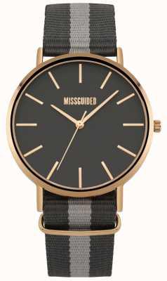 Missguided | montre femme | bracelet en tissu noir et gris | MG018ERG