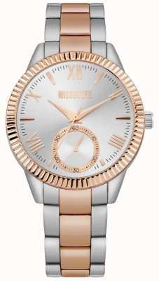 Missguided | bracelet en acier inoxydable deux tons pour femmes | cadran argenté | MG006SRM
