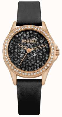 Missguided | bracelet en cuir noir pour femmes | cadran en cristal noir | MG013BRG