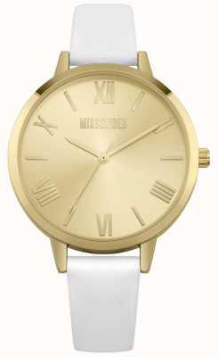 Missguided | bracelet en cuir crème pour femmes | cadran champagne | MG001WG
