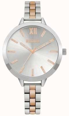 Missguided | bracelet en acier inoxydable deux tons pour femmes | cadran argenté | MG005SRM