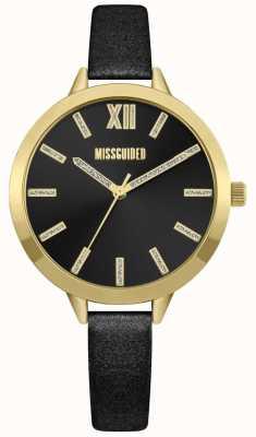 Missguided | bracelet en cuir noir pour femmes | cadran noir | MG005BG