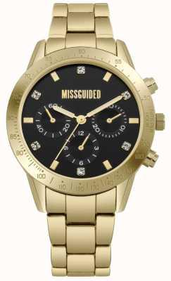 Missguided | acier inoxydable doré pour femmes | cadran noir | chronographe | MG004GM