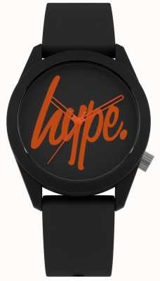 Hype | bracelet en silicone noir | cadran noir et orange | HYU001BO