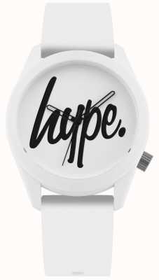 Hype | bracelet en silicone blanc | cadran blanc et noir | HYU001W