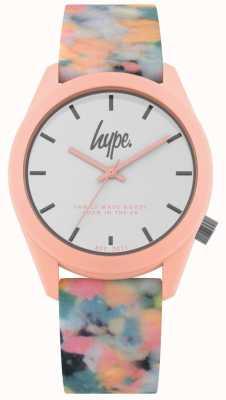 Hype | bracelet en silicone multicolore rose | cadran blanc | HYU009PU