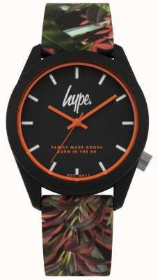 Hype | bracelet en silicone noir feuille / fleur | cadran noir | HYU009BN