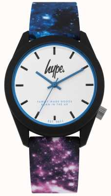 Hype | silicone imprimé galaxy bleu et violet | cadran blanc | HYU009BV