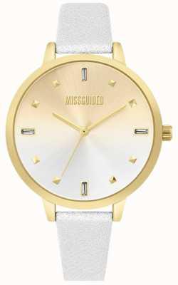 Missguided | bracelet en cuir blanc dames | cadran deux tons | MG020SG