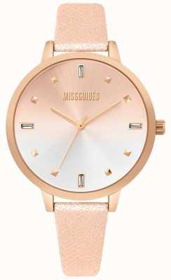 Missguided | montre femme en cuir rose doré | cadran deux tons | MG020RG