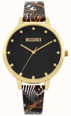 Missguided | bracelet multi-dames | cadran noir | boîtier en or | MG022BG