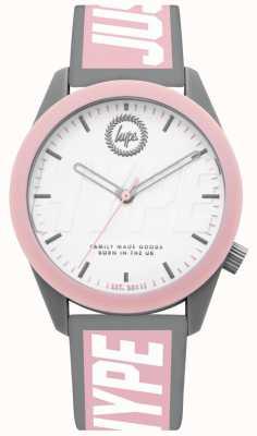 Hype | montre femme | bracelet en silicone gris et rose | HYL018PW