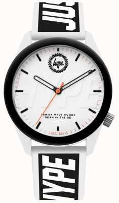 Hype | montre homme | bracelet en silicone blanc et noir | HYU018BW