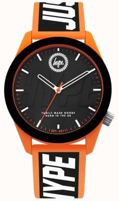 Hype | montre homme | bracelet en silicone orange et noir | HYG018BO
