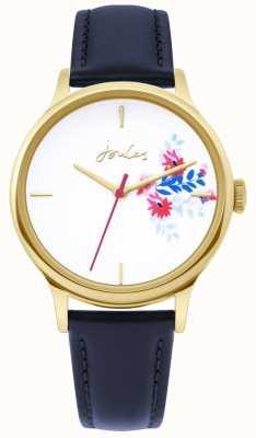 Joules | montre femme | bracelet en cuir bleu | cadran blanc floral | JSL017UG
