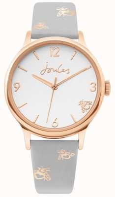 Joules | boitier dames rose d'or | bracelet bourdon en cuir gris | JSL016ERG