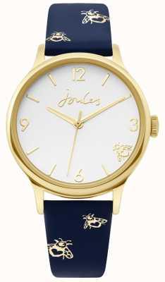 Joules | boitier dames en or | bracelet en cuir bleu imprimé bourdon | JSL016UG