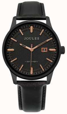 Joules | montre mens marfield | bracelet en cuir noir | cadran noir | JSG009NB