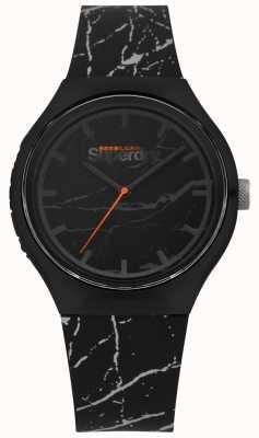 Superdry | bracelet imprimé noir et gris | cadran noir | SYG253BE