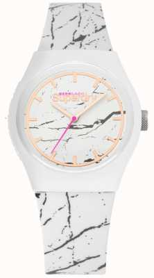 Superdry | bracelet en silicone blanc pour femme | impression grise | SYL253WE
