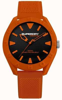 Superdry | osaka | cadran noir mat | bracelet texturé orange | SYG243O