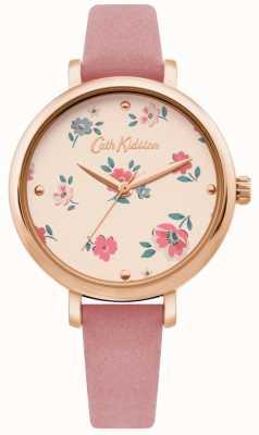 Cath Kidston | montre femme brampton ditsy | bracelet en cuir rose | CKL079PRG
