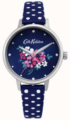 Cath Kidston | montre de groupe chanceux pour femmes | cuir bleu à pois | CKL070U