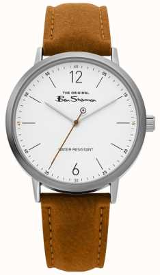 Ben Sherman | montre de script mens | sangle beige | cadran blanc | BS019T