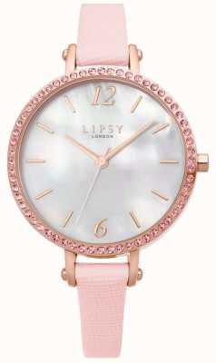 Lipsy | bracelet en cuir rose pour femme | cadran blanc | LP650
