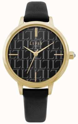 Lipsy | bracelet en cuir noir pour femme | cadran noir | LP660