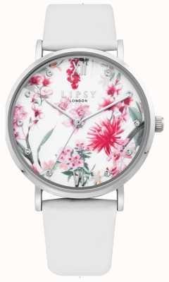 Lipsy | bracelet en cuir blanc pour femme | cadran floral | LP641