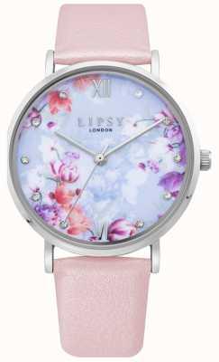 Lipsy | bracelet en cuir rose pâle pour femme | cadran floral | LP656