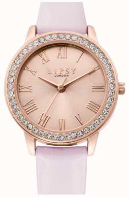 Lipsy | bracelet en cuir rose pour femme | cadran sunray doré rose | LP655