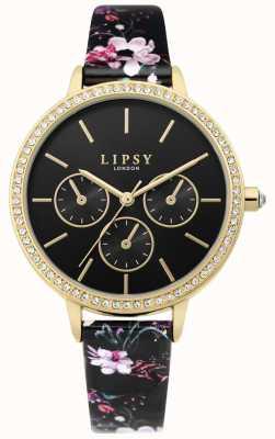 Lipsy | bracelet en cuir floral noir pour femme | cadran noir | LP647