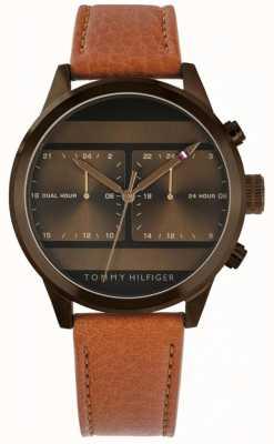 Tommy Hilfiger | montre homme en cuir marron | 1791594