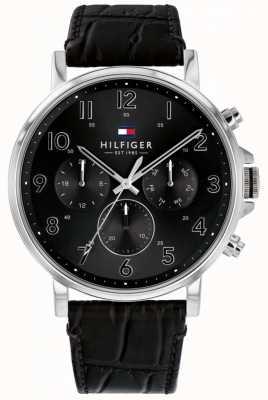 Tommy Hilfiger Daniel | bracelet en cuir noir | cadran noir 1710381