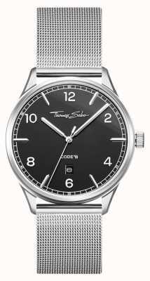 Thomas Sabo | bracelet en acier inoxydable avec mailles d'argent | cadran noir | WA0339-201-203-40