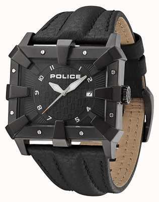 Police Bracelet en cuir noir pour homme cadran noir PL.93404AEU/02A
