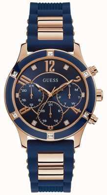 Guess | brise des femmes | bracelet en caoutchouc bleu | cadran bleu | W1234L4