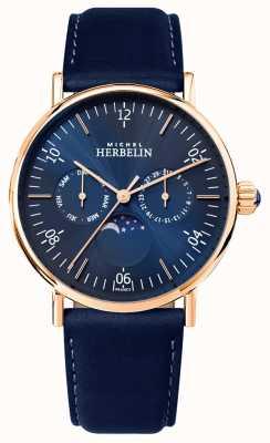 Michel Herbelin Montre homme inspiration phases de lune cadran bleu bracelet bleu 12747/PR15BL