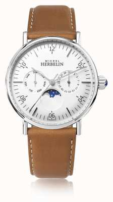 Michel Herbelin Montre Inspiration Moonphase Bracelet Cuir Marron Cadran Blanc 12747/AP11GO