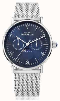 Michel Herbelin Montre inspiration Moonphase Bracelet en maille d'acier inoxydable Cadran bleu 12747/AP15B
