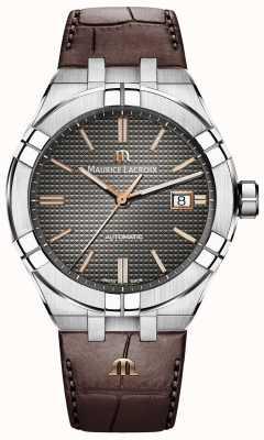 Maurice Lacroix Aikon automatique bracelet en cuir marron cadran anthracite AI6008-SS001-331-1