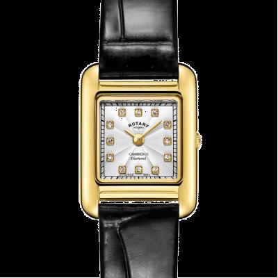 Rotary | bracelet en cuir noir dames | boîtier en or | LS05288/70/D