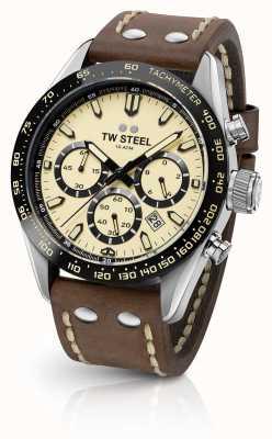 TW Steel | bracelet en cuir marron homme | chronographe crème | CHS2