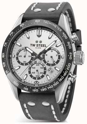 TW Steel | bracelet en cuir gris foncé pour homme | cadran argenté | CHS3