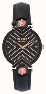 Versus Versace | bracelet en cuir noir dames | cadran à motifs | VSPLH1519