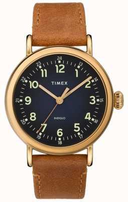Timex | bracelet en cuir beige | cadran bleu | TW2T20000D7PF