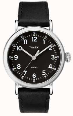 Timex | bracelet homme en cuir noir | cadran noir | TW2T20200D7PF