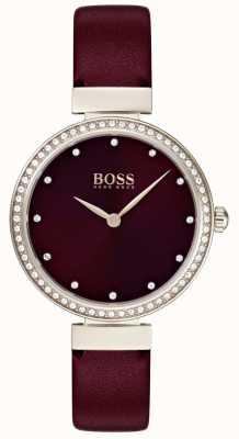 Boss | bracelet en cuir bordeaux dames | 1502481